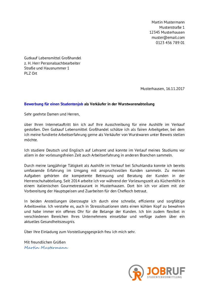 pdf muster zum ausdrucken - Bewerbung Verkaufer